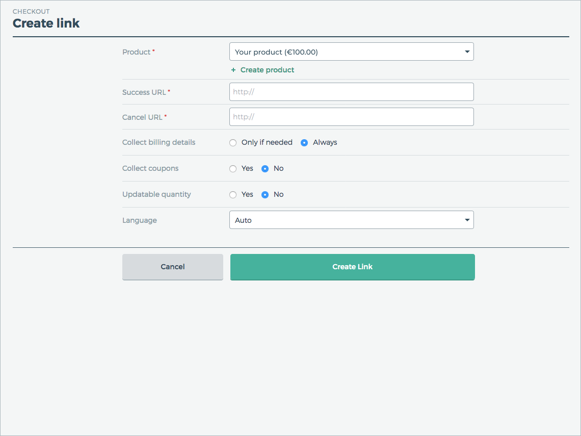Create a checkout link in just a few simple steps.
