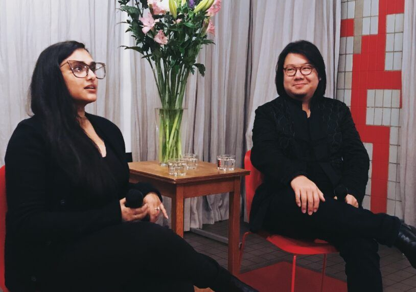 Rabia and author Kevin Kwan (Crazy Rich Asians) during a book launch event.
