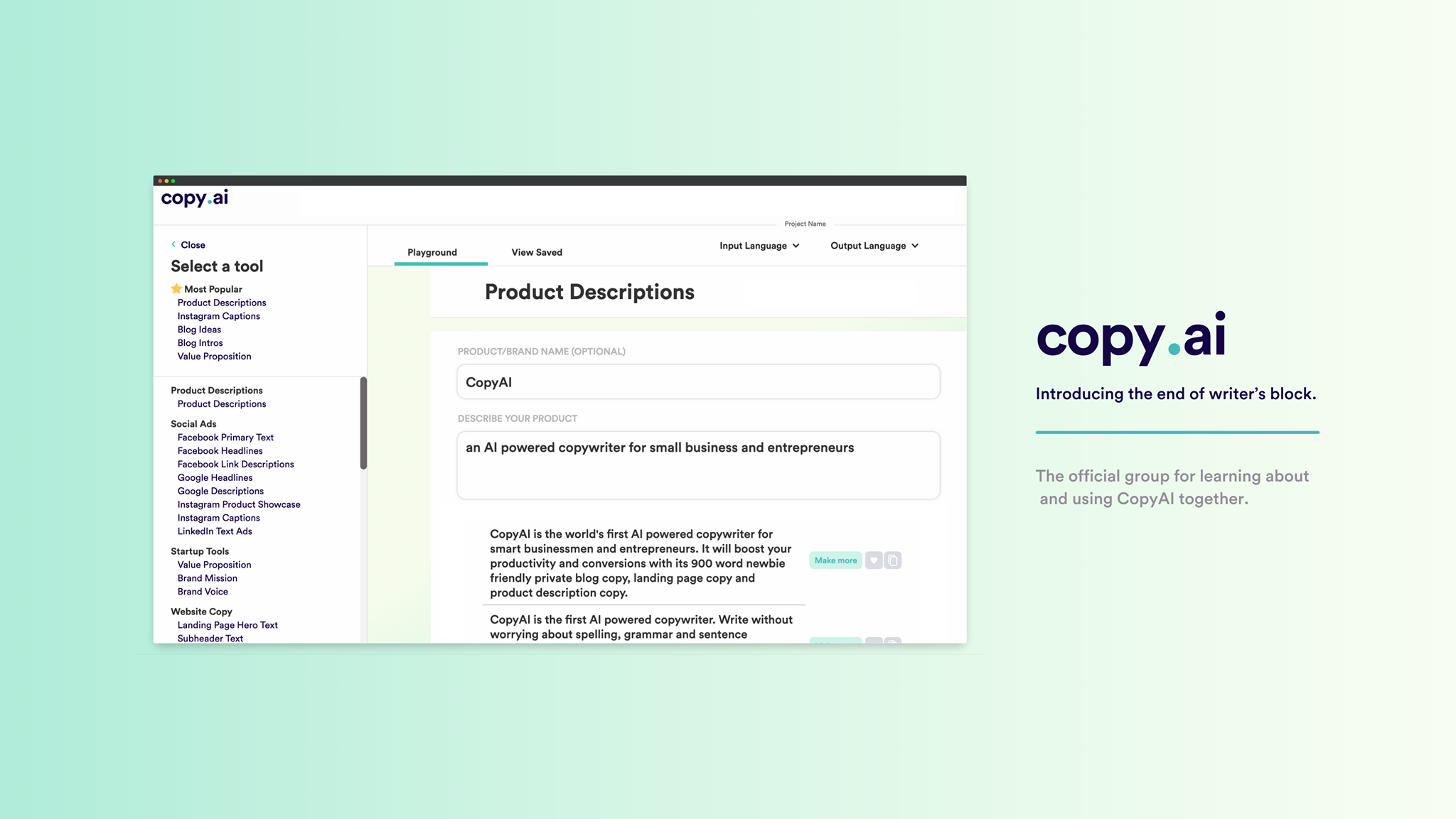 Open the CopyAI app to get started with social media content