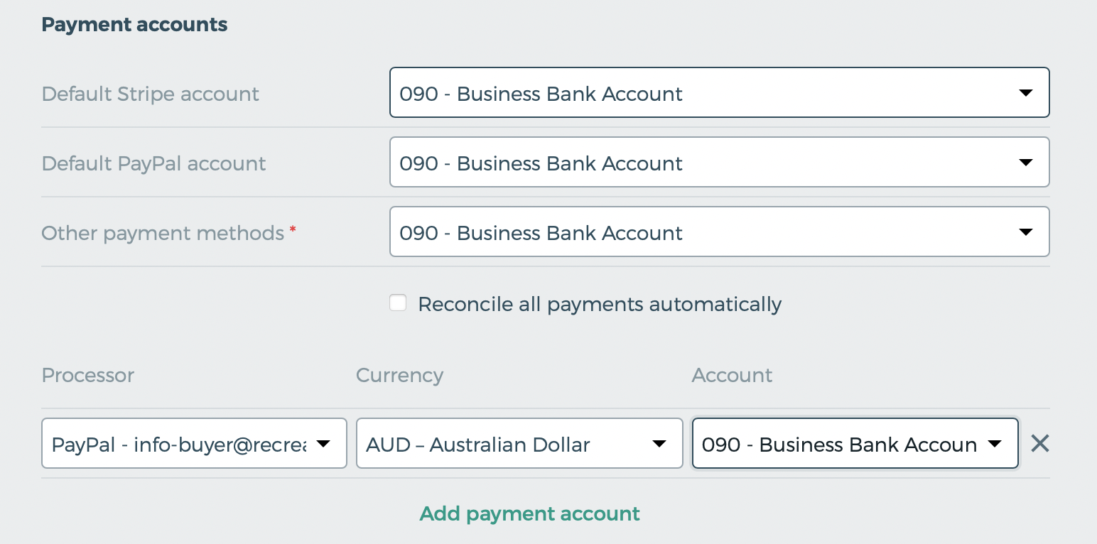 Map your Xero payment accounts.