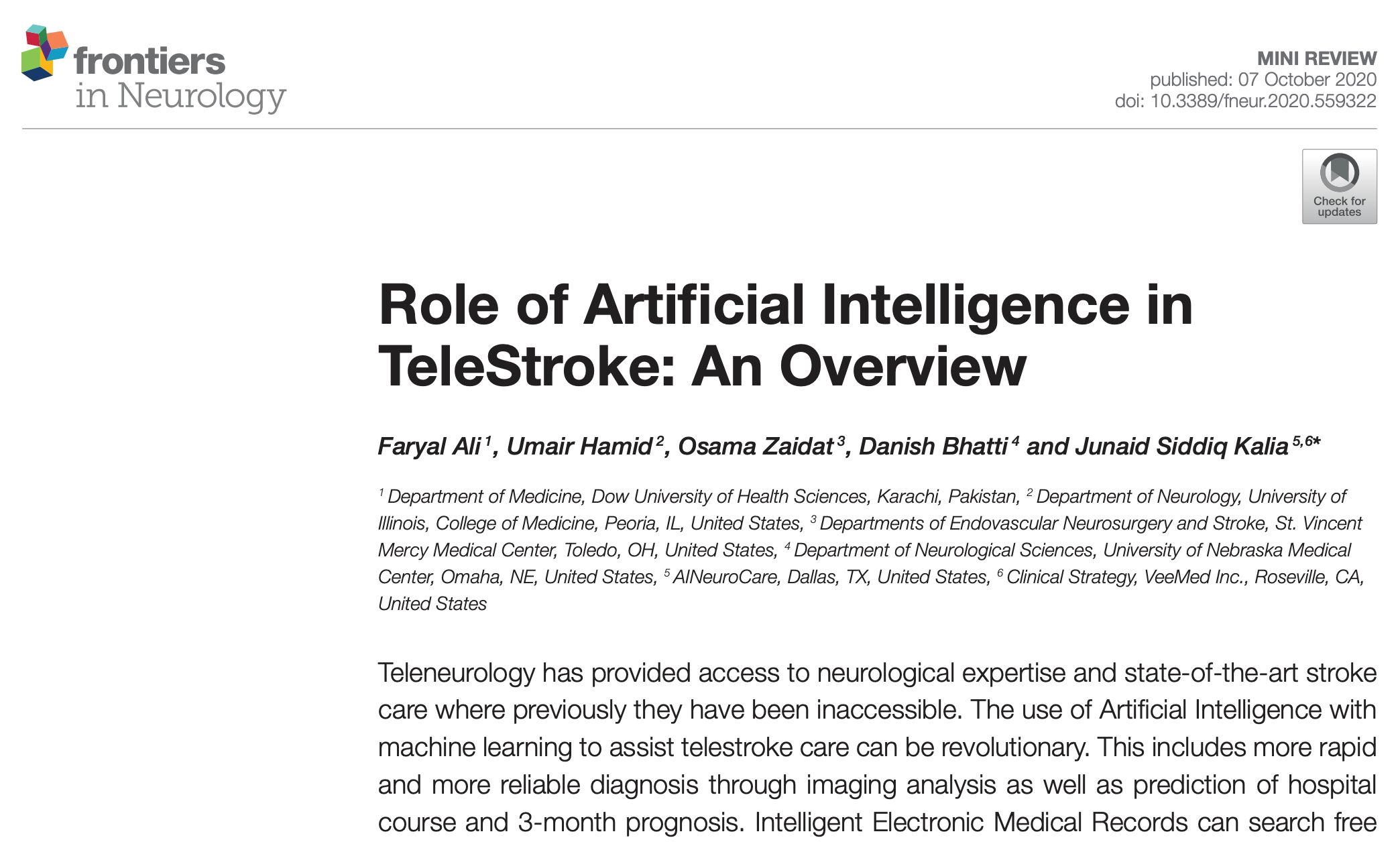 Role of Artificial Intelligence in TeleStroke: An Overview