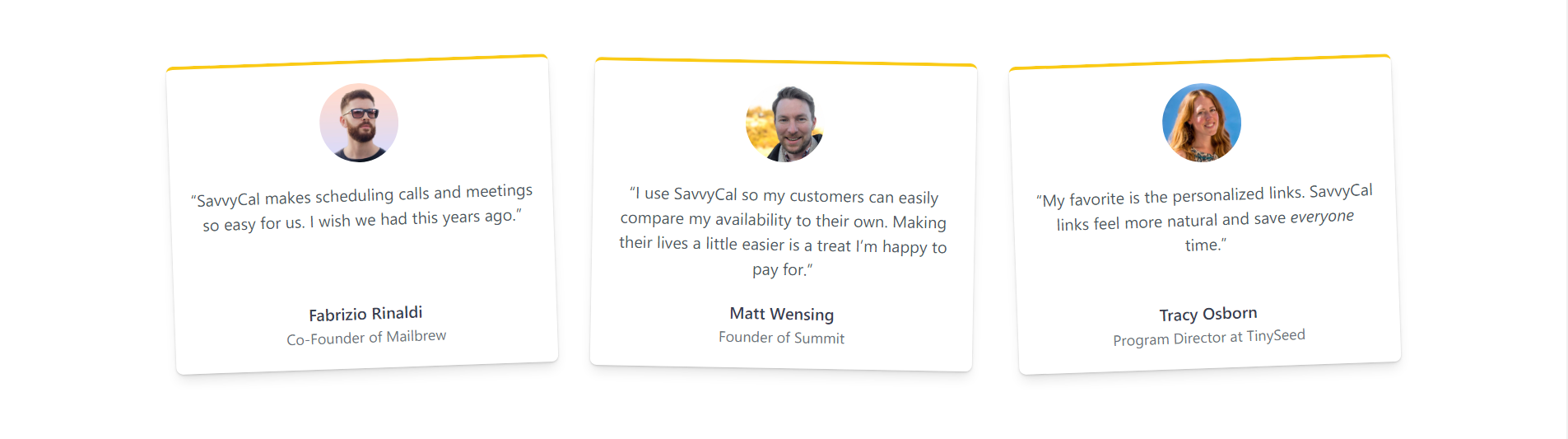 Derrick shows 3 different sections of social proof on SavvyCal