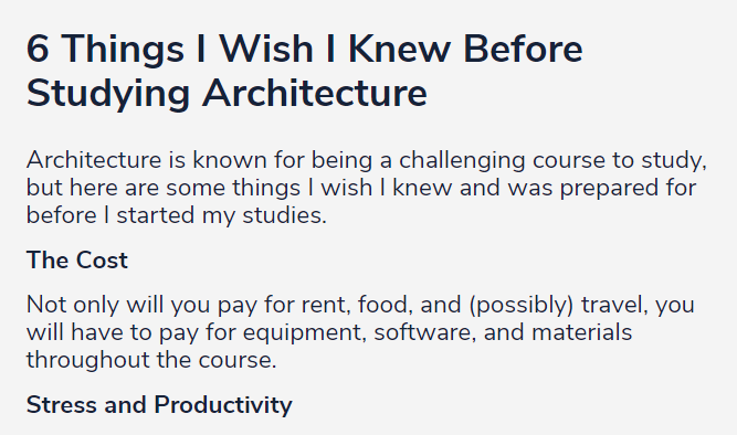 6 Things I Wish I Knew Before Studying Architecture