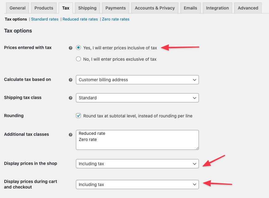 Add your tax settings for tax-inclusive pricing.