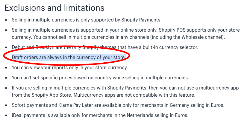 Shopify Official documentation on limitations of draft order