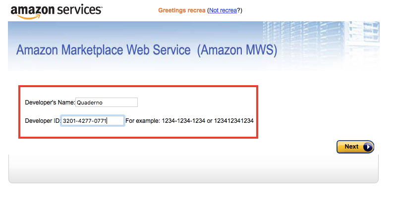 Enter Quaderno's credentials as a new developer in your Amazon account.
