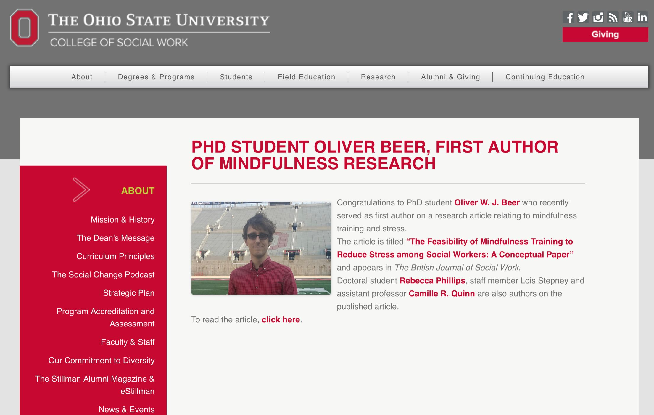 PhD Student Oliver Beer, First Author of Mindfulness Research