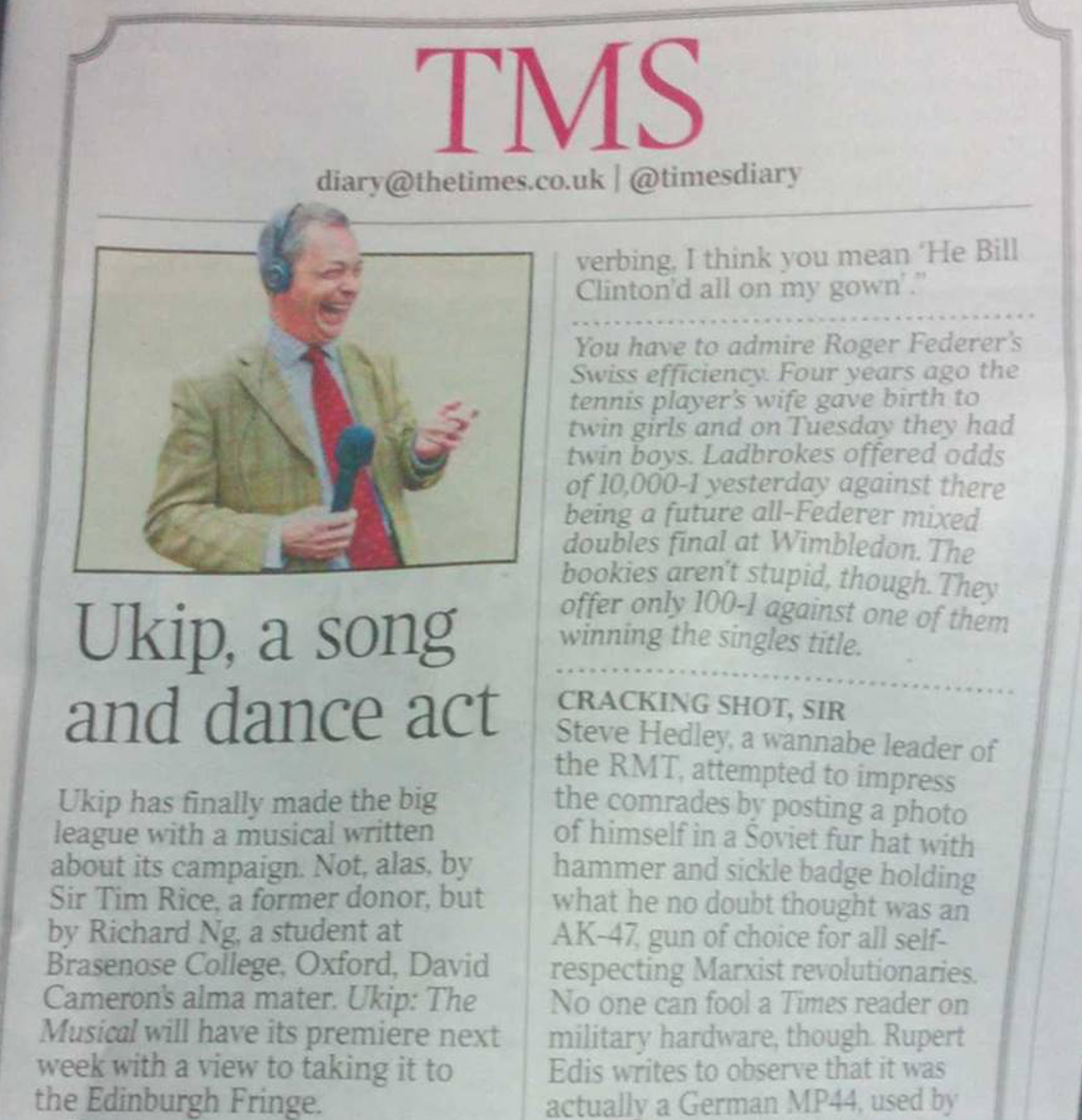 An extract from The Times diary.