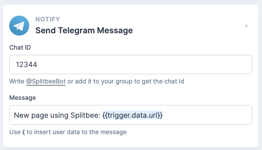 Simple telegram automation notifying me about new pages that implemented Splitbee