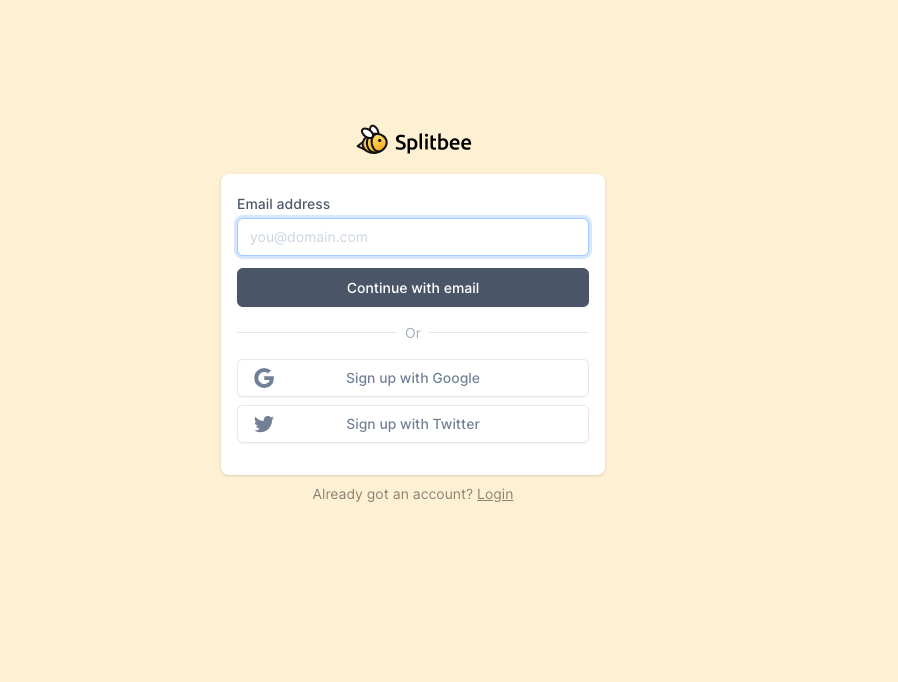 Sign up page for Splitbee here —