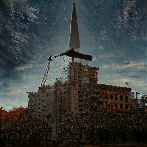 """CLIP gives high score to this image and the phrase: """"At the end of everything, crumbling buildings and a weapon to pierce the sky"""""""