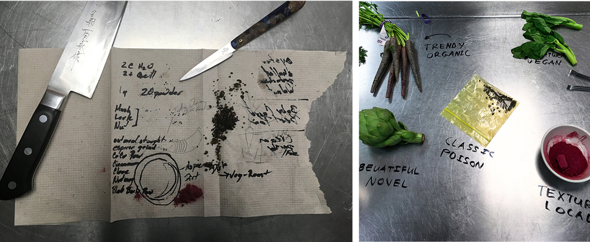 The dish takes inspiration from the passover seder, from using symbolic ingredients as well as its didactic nature.