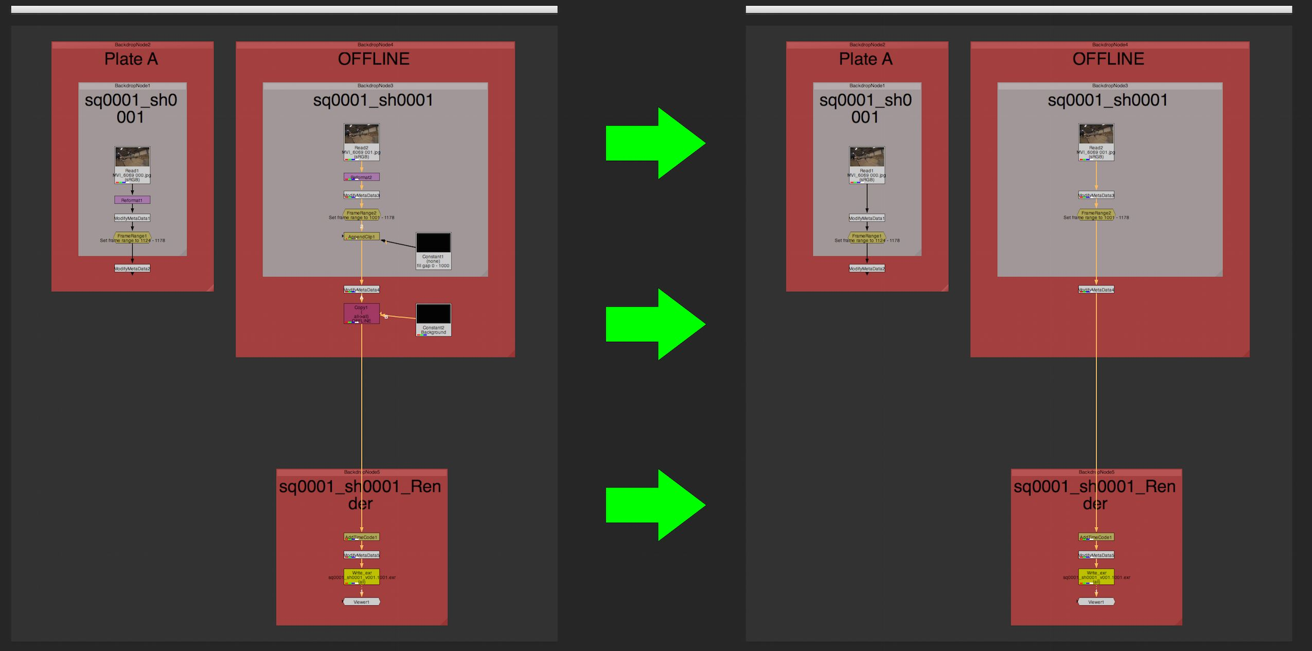 Comparison of a comp straight from Nuke Studio and after processing with 'Nuke Studio Comp Cleaner'