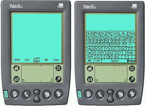 """Palm follows a clear distinction between keypad (Graffiti-input) and screen. While there is an onscreen keyboard for those, who really wanted to use it, the """"Graffiti"""" language worked on a superior level."""