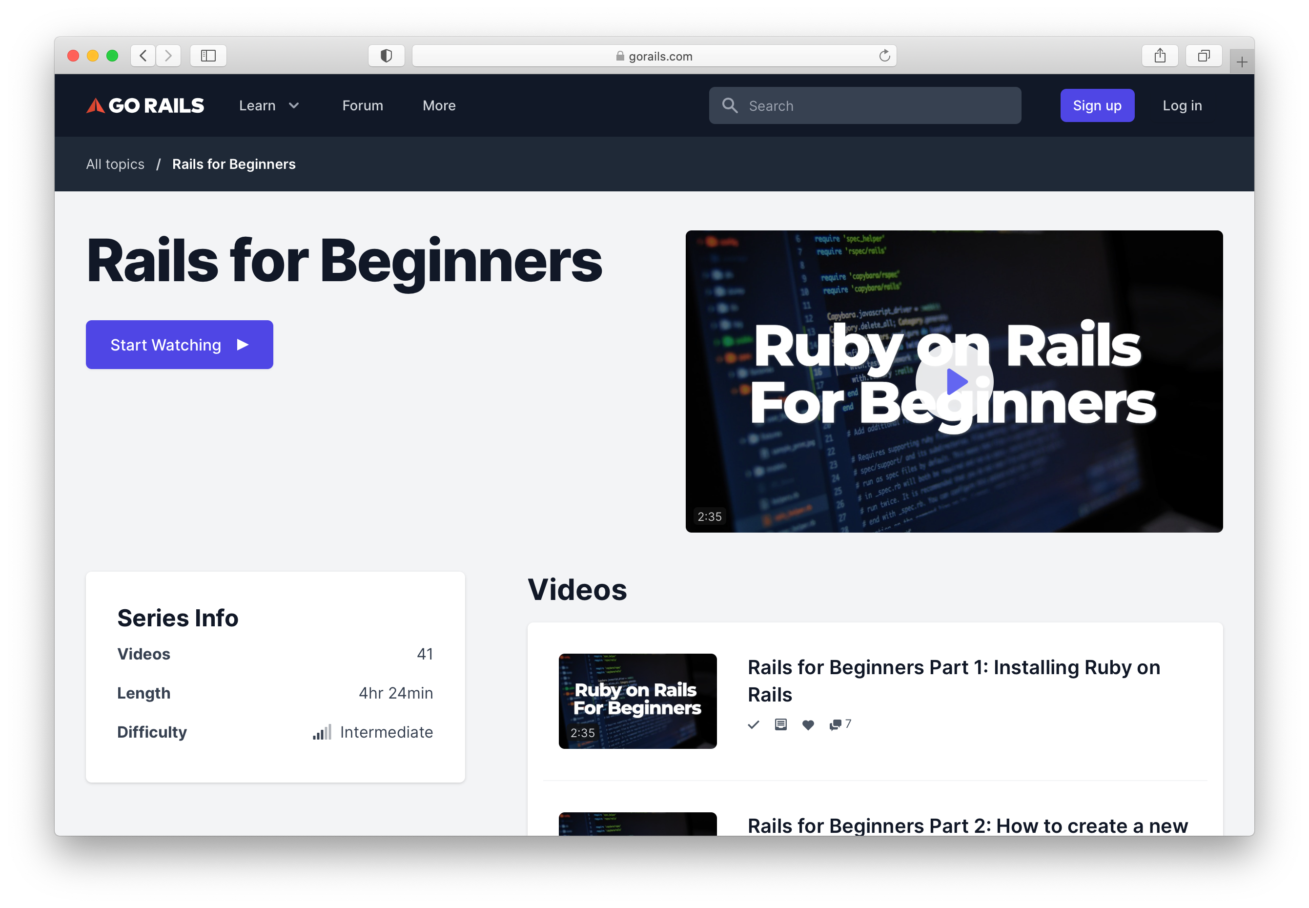 Rails for Beginners at GoRails.com