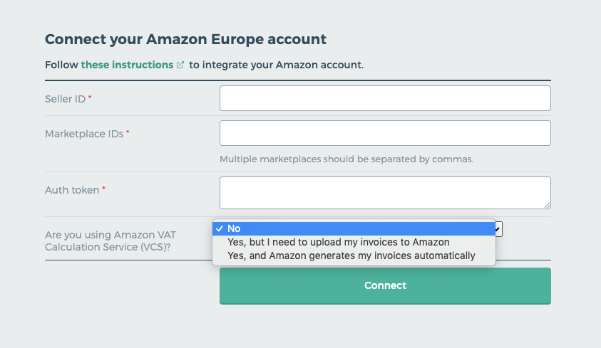 Connect your Amazon account.