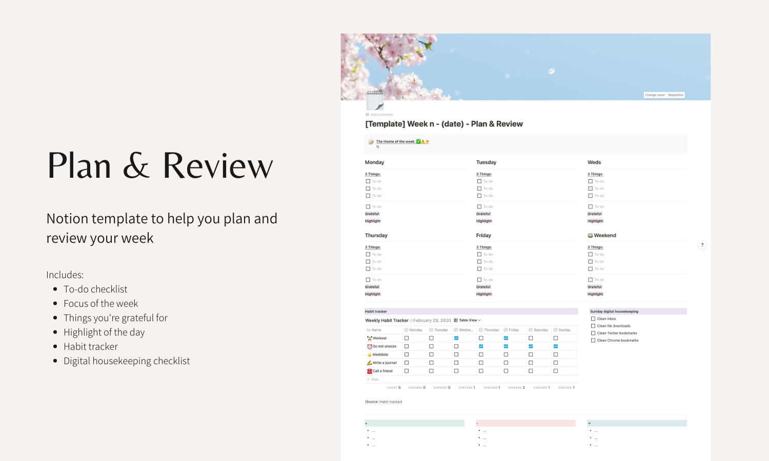 My first digital product: A Notion template to review and plan your week