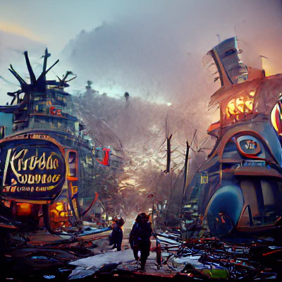 """CLIP gives high score to this image and the phrase: """"Post-apocalyptic Wonderland"""""""