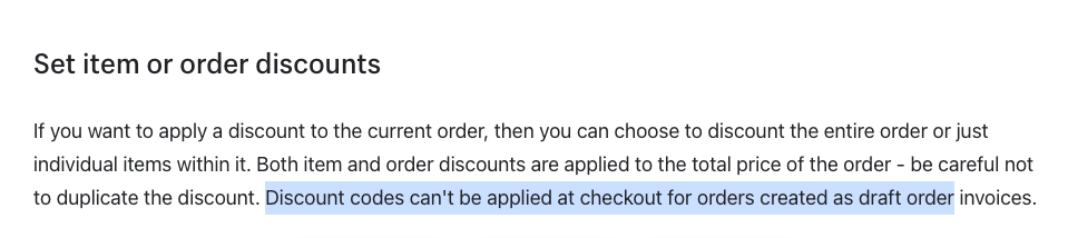 Shopify draft order limitation mentioned in the Shopify official documentation