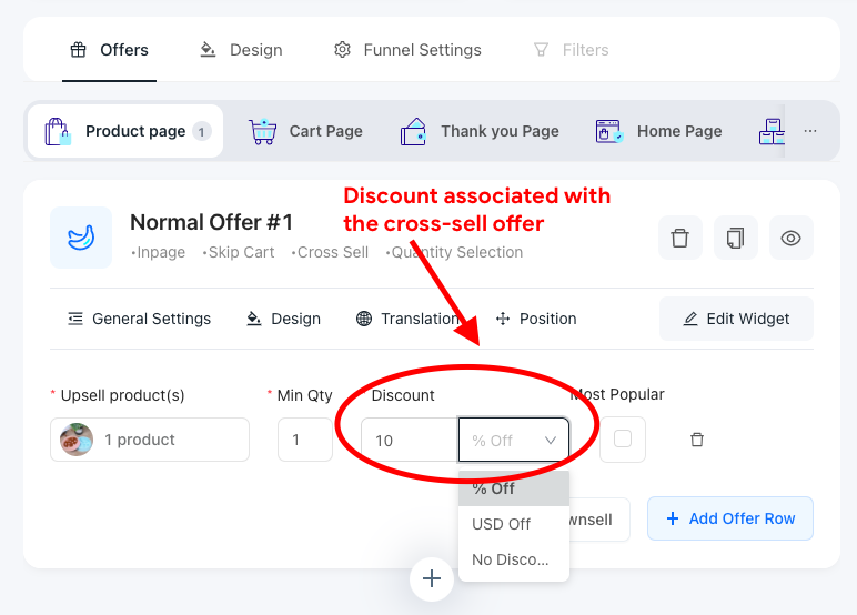 Upsell Funnel Engine (UFE) widget with discount