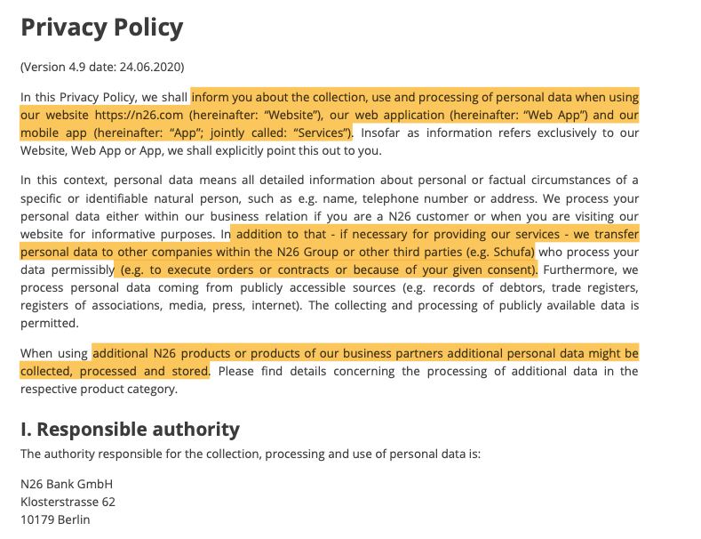 Excerpt from the policy - Find the full version here https://n26.com/en-eu/legal-documents/privacy-policy