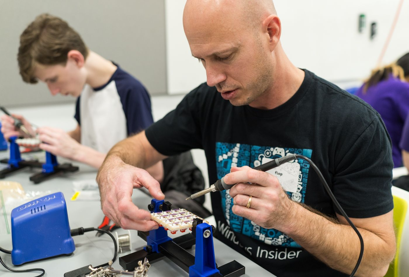 There were soldering and handwiring workshops as well. This is a necessary skill for building a keyboard from scratch.