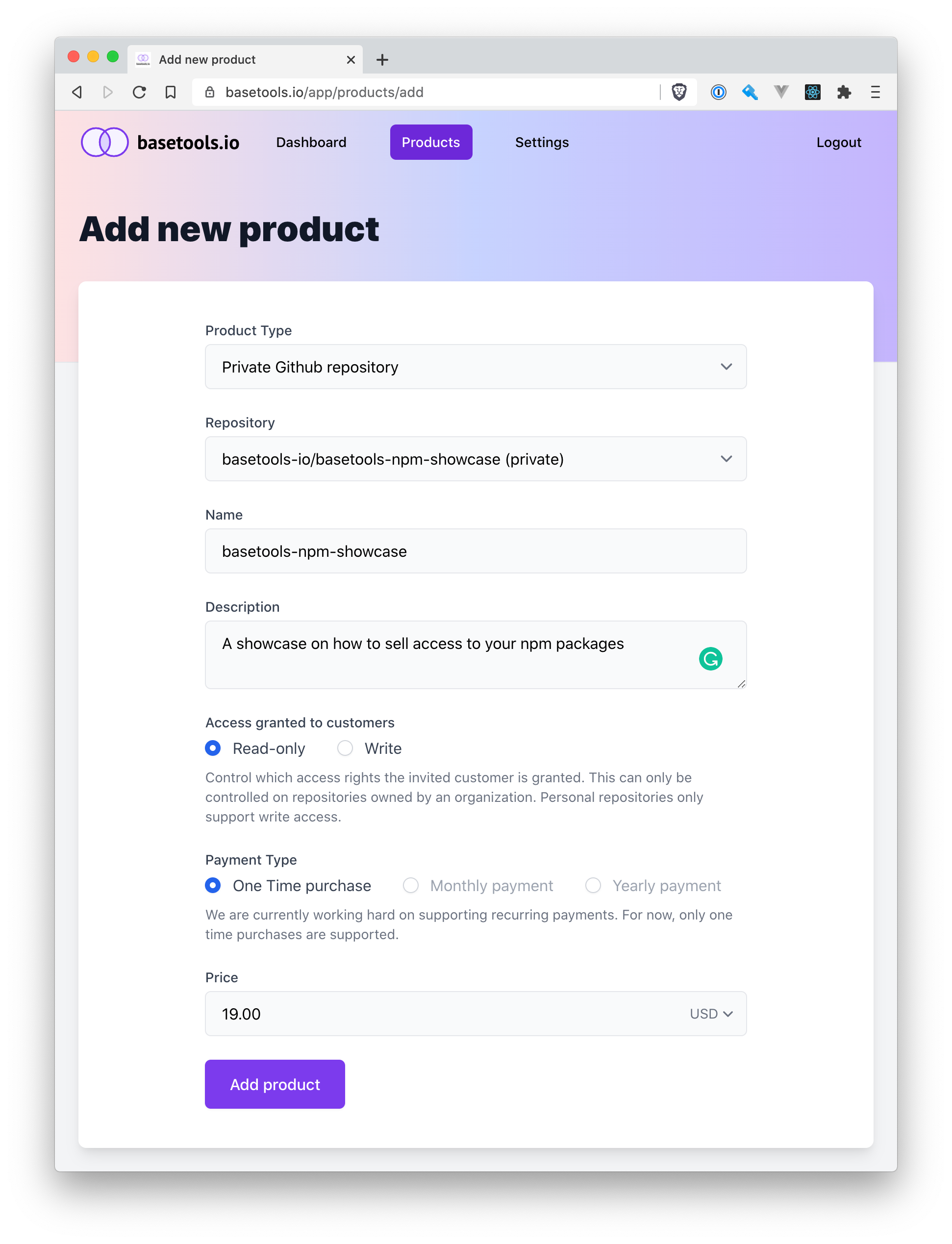 Add the npm package as product to basetools