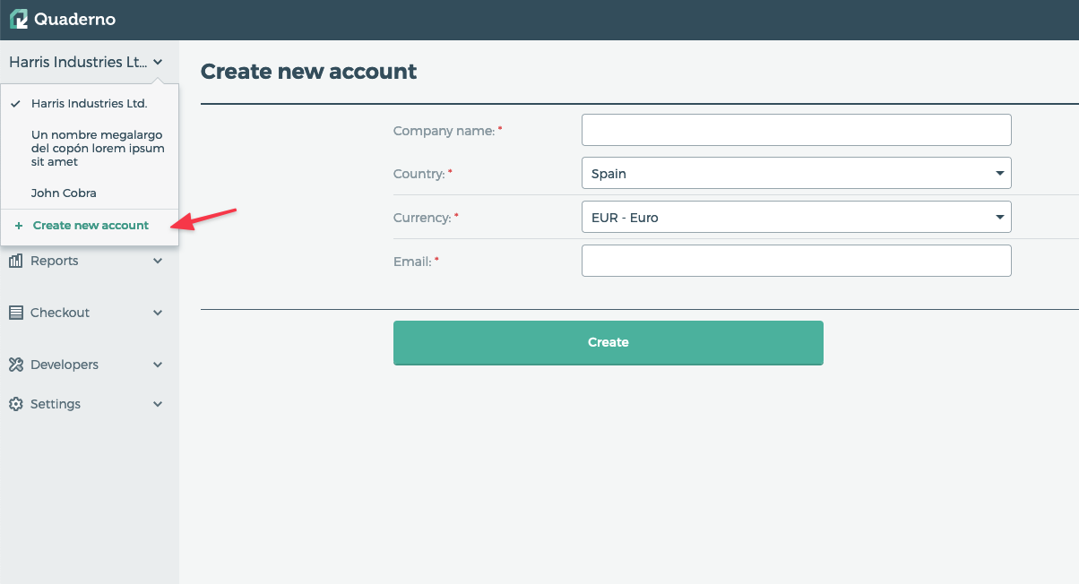 Once your new account has been added, you'll see it as an option on the dropdown.