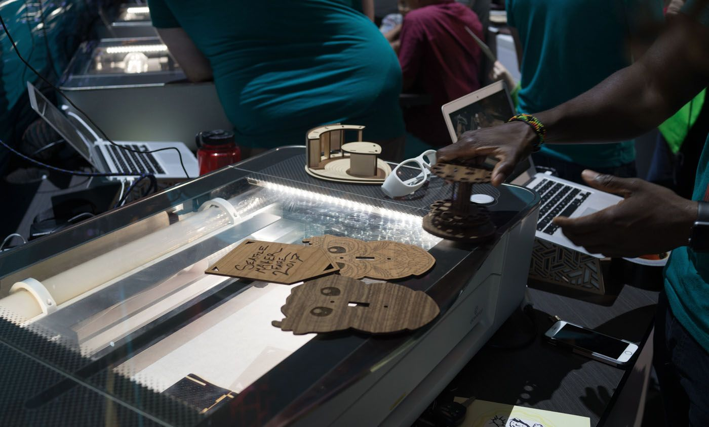 """Glowforge, a """"3Dlaser printer/cutter,"""" had quite a presence and appears to be a darling of theDIYcrowd."""