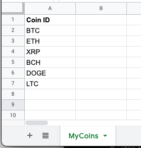 The initial set of coins who's prices we want to lookup