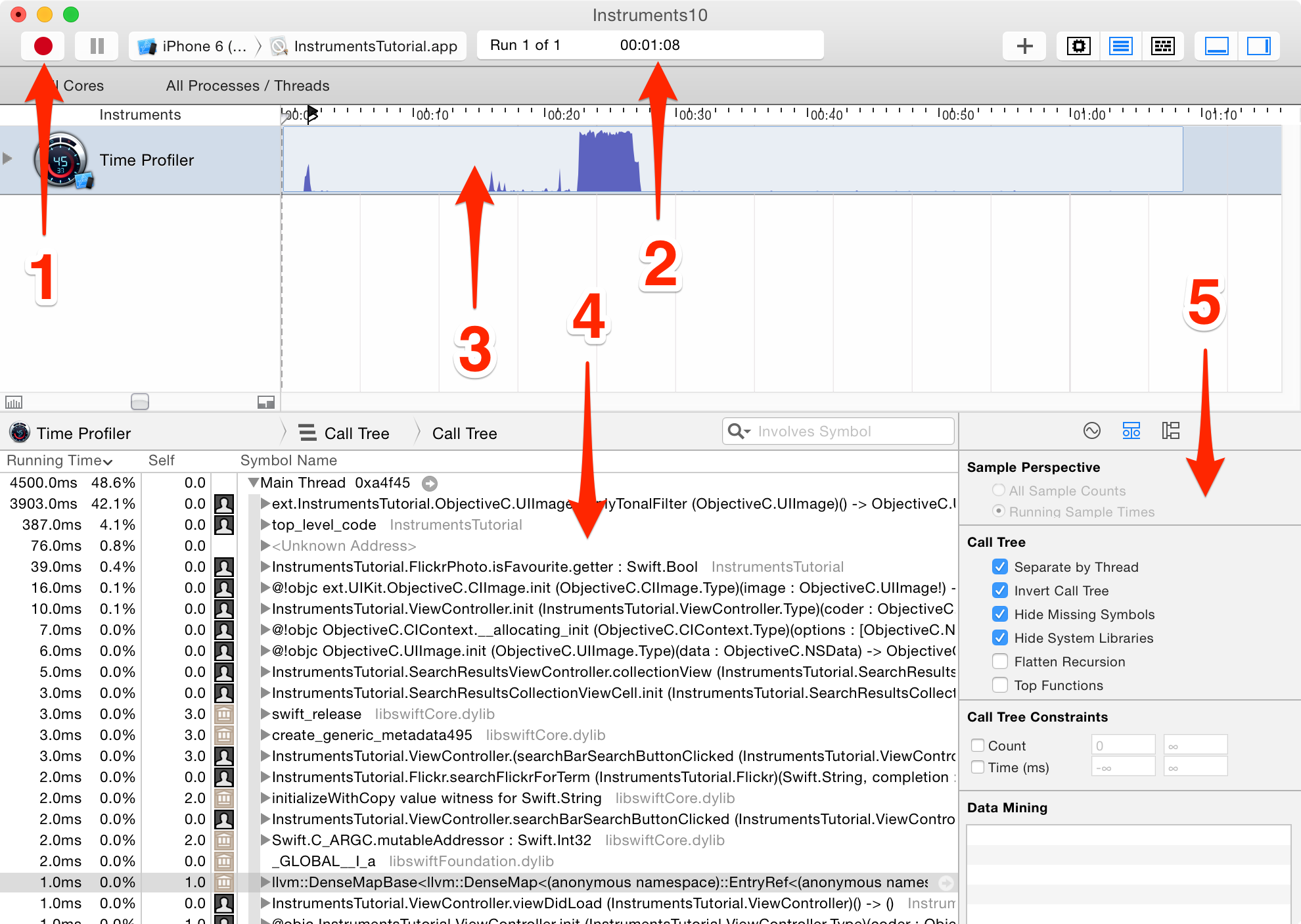 Profiling with Instruments / Time Profiler / Essential iOS